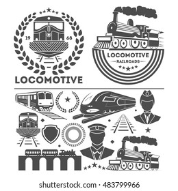 Train  or railroad logo, design elements set. Signs and symbols . Black railway  retro emblems and badges collection