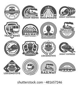 Train  or railroad logo, signs and symbols. Railway, train emblems and badges collection. Black retro logo design