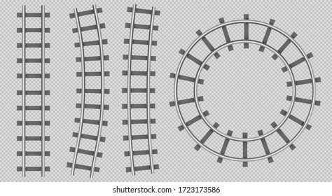 Train rails top view, railway track straight, curve and round path, steel sleepers for metro, logistics transportation construction isolated on transparent background. Realistic 3d vector illustration