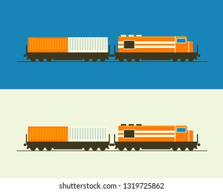 Train with the railway carriage flat design vector illustration. Could be a part of poster, card, advertisement board. Delivery service or city transport.