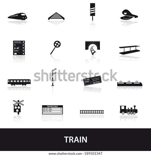 Train Railway Means Transportation Black Simple Stock Vector