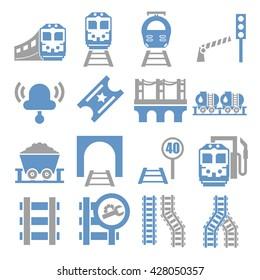 train, railway ,underground icon set