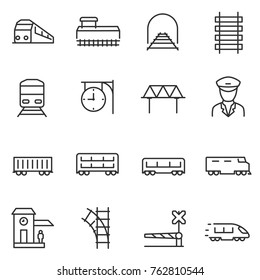 train and railways icon set. intercity, international, freight trains, linear icons. Line with editable stroke