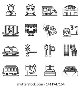 train and railways icon set with white background. Thin line style stock vector.