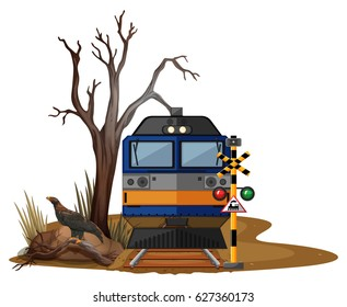 Train ride in dry desert illustration