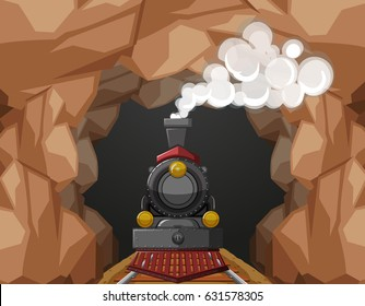 Train ride through the cave illustration