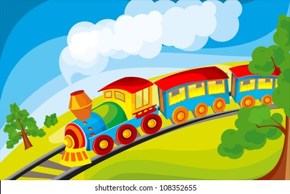 train rides in a cartoon style in the field of pipe smoke is