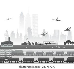 Train running through the city, industrial illustration