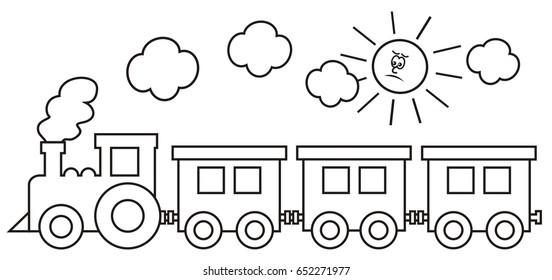 train and sad sun, coloring page, vector icon, Vlak, omalovánka