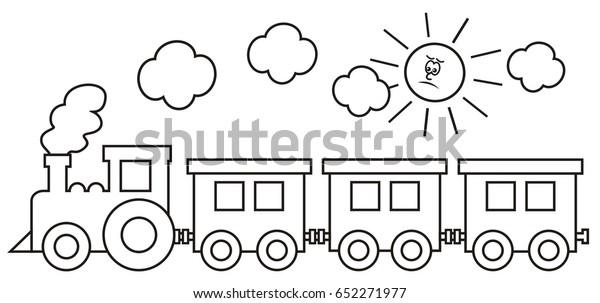 Tren Boyama Sayfasi Vektor Simgesi Vlak Stok Vektor Telifsiz