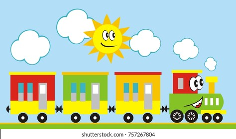 Train set, three wagons locomotive. Funny vector illustration. Train and sun. Locomotive with eyes and mouth. Vlak, vlá?ek