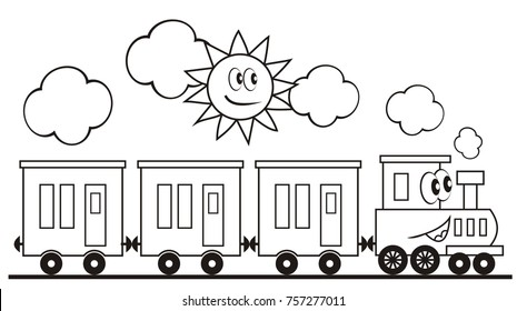 Train set, three wagons locomotive. Funny vector illustration. Train and sun. Locomotive with eyes and mouth. Coloring page for children. Vlak, omalovánka