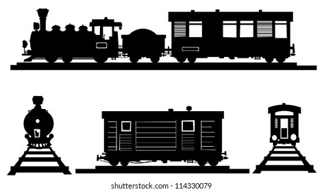 Train  silhouette  illustrations.