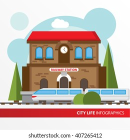 Train station building icon in the flat style. Railway station. Concept for city infographic. Different types of Municipal life of the city