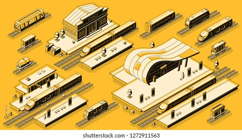 Train station buildings with platforms and electric, diesel locomotives with passenger and freight wagons on rails isometric vector set. Railroad transport infrastructure line art elements collection