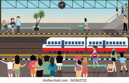 train station busy illustration vector flat city transportation cartoon