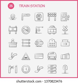 Train Station Hand Drawn Icons Set For Infographics, Mobile UX/UI Kit And Print Design. Include: Entrance, Railway, Station, Subway, Train, Railroad, Railway, Sign, Icon Set - Vector