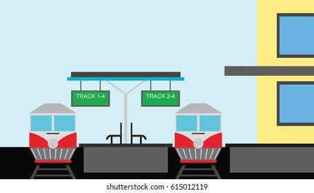 Train Station Illustration Design Vector