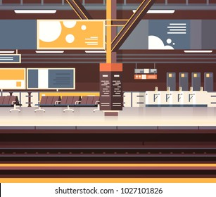 Train Station Interior Background Empty Platform Subway Or Railway With No Passengers Transport And Transportation Concept Flat Vector Illustration