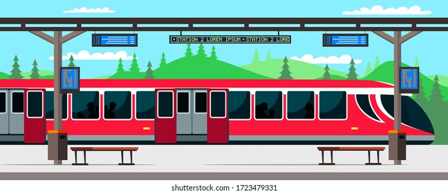 Train station and passengers inside. Train or subway car has arrived at empty stop background. Long distance transportation, public transport, urban infrastructure. Vector illustration