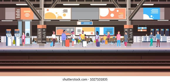 Train Station With People Waiting On Platform Holding Baggage Transport And Transportation Concept Horizontal Banner Vector Illustration