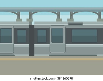 Train station platform. Vector flat illustration