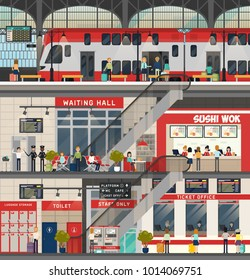 Train station with railroad. Interior of metro or subway with luggage storage and waiting hall, escalator and ticket office.Building and construction, architecture, public transport, people and travel