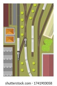 Train station. Railway yard. Top view. Simple illustration.