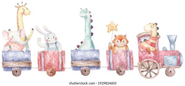 Zug, Dampfmaschine mit Tieren und Dinosaurier-Kindergrafik auf weißem Hintergrund