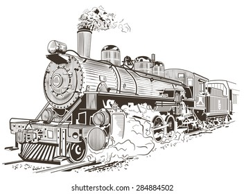 Train, steam locomotive illustration in vintage style