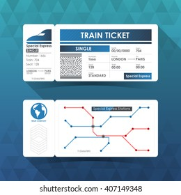 Train Ticket Card, Element Design with Blue Color. Vector illustration.