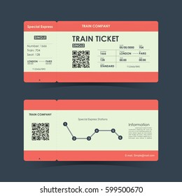 Train ticket concept design. Vector illustration.
