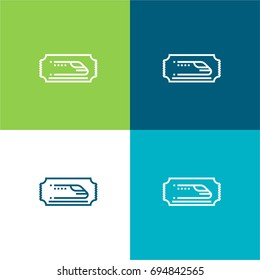 Train ticket green and blue material color minimal icon or logo design