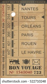 Train ticket retro vector illustration with destinations in France
