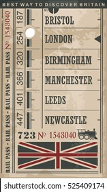Train ticket retro vector illustration with England cities and popular destinations in Great Britain.