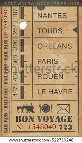 train ticket retro vector illustration destinations stock vector