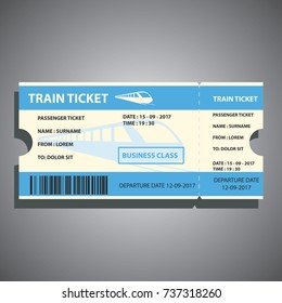 train ticket for traveling by train in the business class. vector illustration