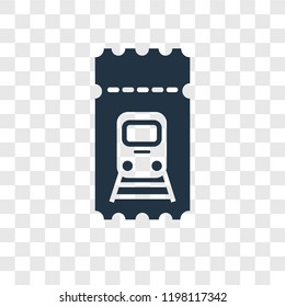 Train ticket vector icon isolated on transparent background, Train ticket transparency logo concept