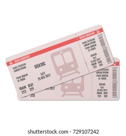 Train tickets isolated on a white background. Vector illustration