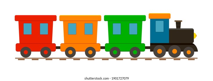 Train toy. Locomotive for kid. Cartoon engine, wagon, wheels and railway for child. Train isolated on white background. Cute icon for holiday, birthday and shop. Transport children game. Vector.