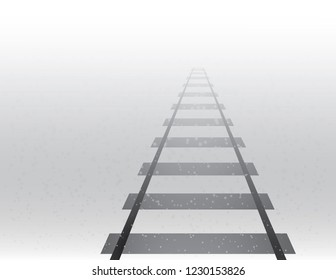 A train track road for traveling long distance on foggy and snowy weather in winter season vector illustration