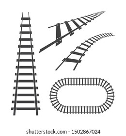 Train tracks vector icon design template illustration