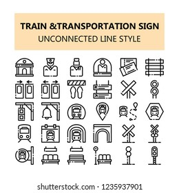 Train Transportation sign pixel perfect icons set. NBA or unconnected line icons style for business, presentation, and web