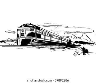 Train Travel - Retro Clip Art