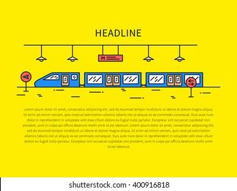 Train (underground railway) station color vector illustration. Subway (underground railway) station (train, public, tube, railroad, platform) creative graphic concept. City train outline concept.