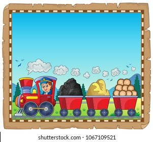 Train with various materials parchment 1 - eps10 vector illustration.