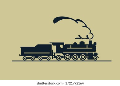 """Train vector art: old classic 1-3-1 (2-6-2, """"Prairie"""") steam engine locomotive with exhaust smoke. Side view sketch on flat background. For maps, schemes, applications and travel infographics."""