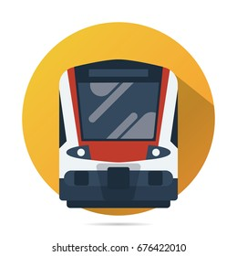 train vector flat icon, modern public transportation illustration front view