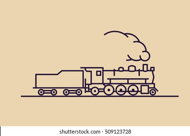 "Train vector icon: old classic 1-3-1 (2-6-2, ""Prairie"") steam engine locomotive with exhaust smoke. Thin line pictogram on flat background. For maps, schemes, applications and travel infographics."