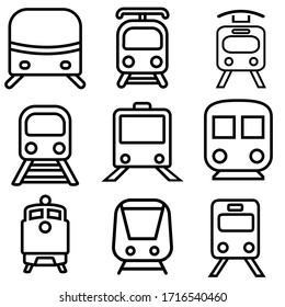Train vector icon set. railway illustration sign collection. Tram symbol. Public transport logo.